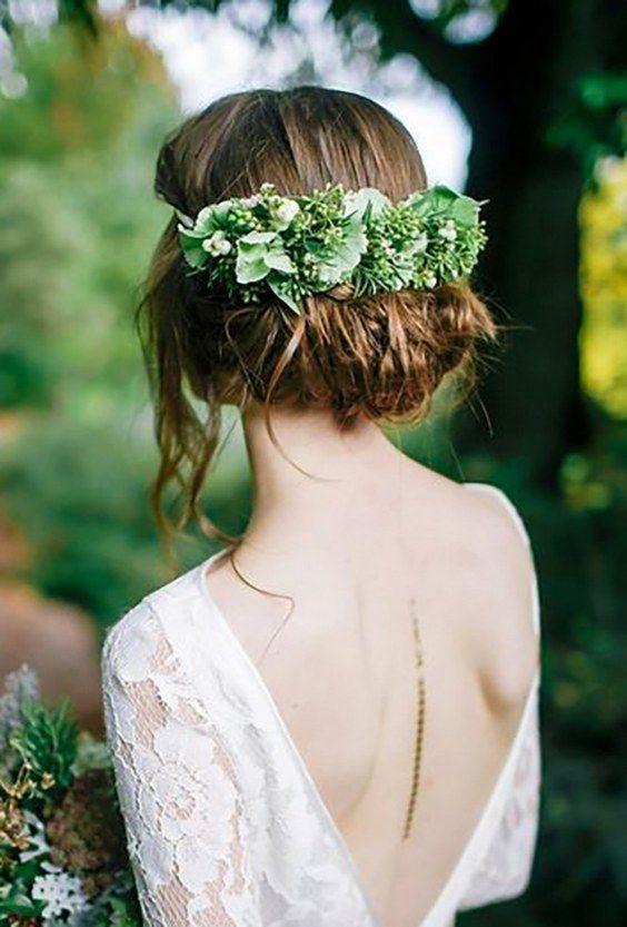 greenery wedding hair ideas jess petrie / http://www.deerpearlflowers.com/wedding-hairstyles-with-flower-crowns/