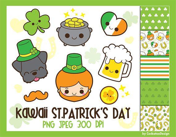 St Patricks Day Clipart Saint Patricks Day Clip Art Kawaii Etsy In 2020 Clip Art Dog Clip Art Easter Kids