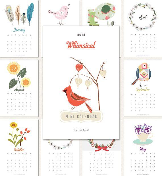 Whimsical Mini Calendar 2014 Social Freebie!