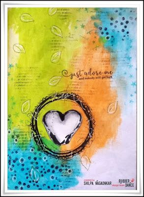 * Rubber Dance Blog *: Mixed Media Art Journal Page with Heart Stamp