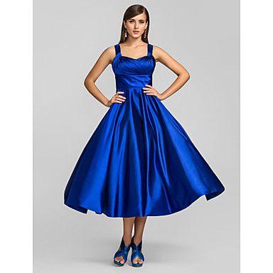 A-line Princess Straps Tea-length Stretch Satin Cocktail Dress (635894) – GBP £ 104.39