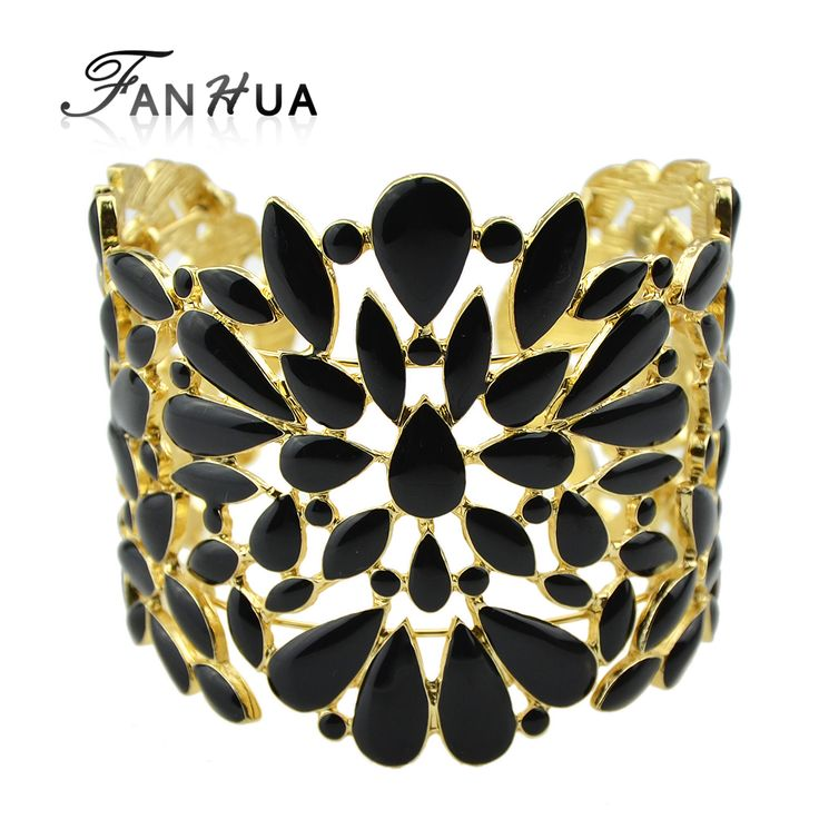Vintage Black And Beige Color Enamel Hollow Out Cuff Bracelet and Bangles Designer Bijoux For Women Adjustable Pulseira Ouro