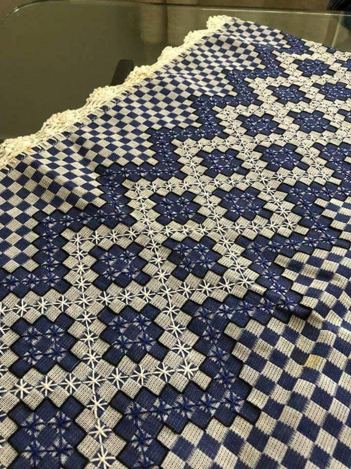 98a116092576af Bordado em tecido xadrez - Amostra de Bordado (Detalhes sobre o ...