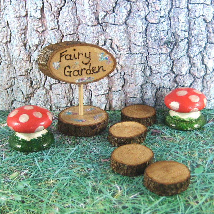 Fairy garden accessories starter set, fairy garden sign, toadstools, stepping stones. Miniature garden accessories. Fairy gift. Garden decor by SunCottageCreations on Etsy