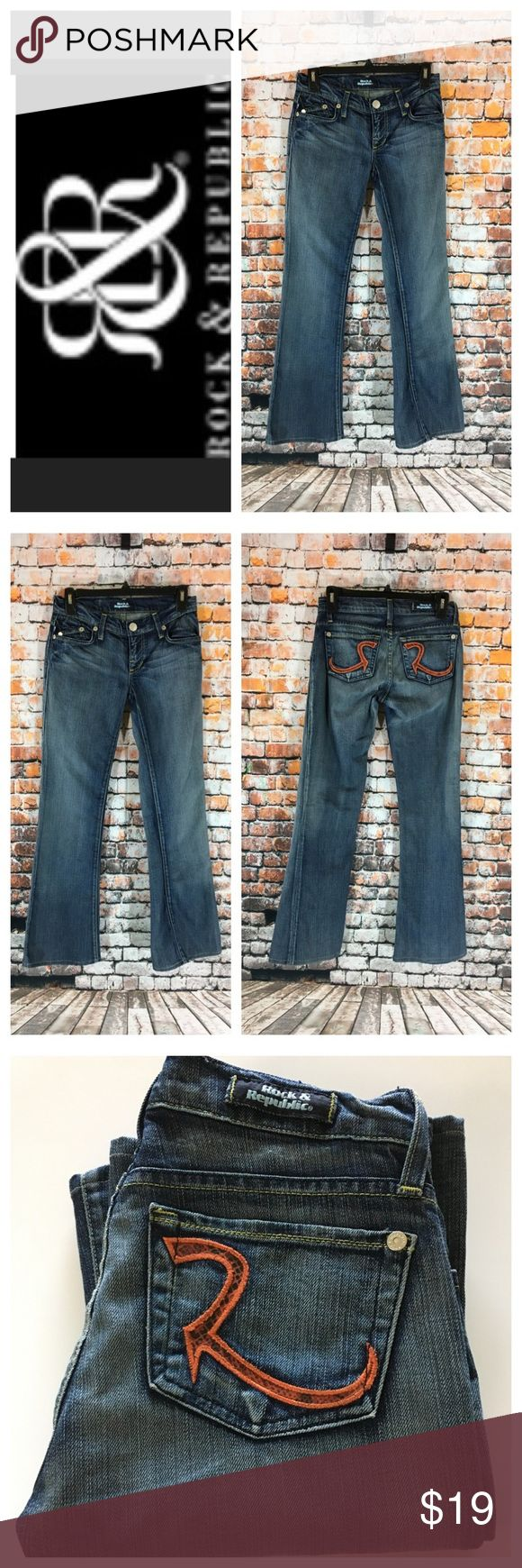 "💸Rock & Republic flare leg denim Jean size 25 💸Rock & Republic flare leg denim Jean size 25 inseam 30"" (hemmed) and rise 7"". Leg width opening is 9"" across. Measurements are approximate. You are looking a used pair of Rock & Republic jeans in a flare leg with orange designer emblem on rear pockets. Rock & Republic Jeans Flare & Wide Leg"
