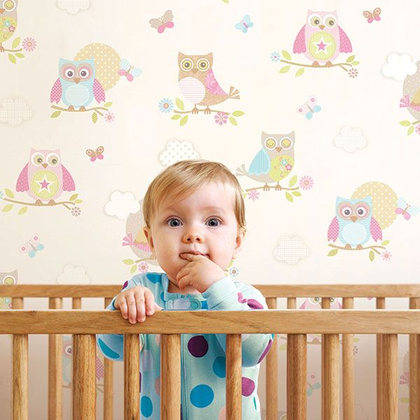 This lovely design boasts pretty owls and butterflies on a neutral background from the Just 4 Kids Collection by Galerie - G56035R #galerie #homedecor #kids #wallpaper #wallcovering #interior
