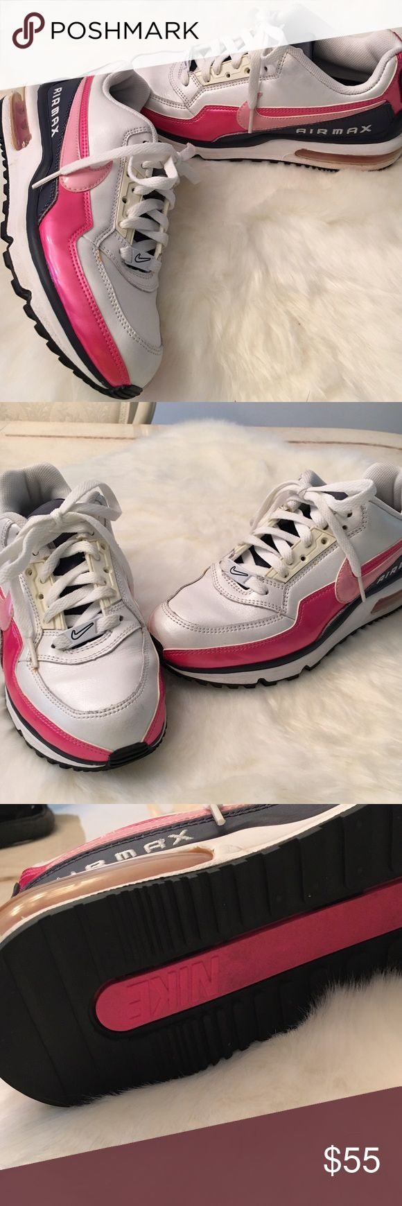 👟 PEARL WHITE Nike Air MAX Sneakers CLEAN 7.5 Amazing sneakers by Nike!!! Gently wore, has a few normal wear scuffs but besides that they are clean and has lots of life left!!! The white is pearl white, with pink and dark navy color. Grab them sold out in stores!! ❗️NO TRADES PLEASE❗️ 🛍BUNDLE FOR SAVINGS🛍 Nike Shoes Athletic Shoes