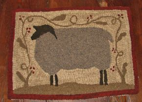 "PRIMITIVE HOOKED RUG PATTERN ~ ""FARM FRIENDS SERIES ~ SHEEP""  #NaivePrimitive"
