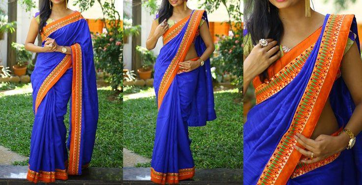 Ink blue raw silk with orange thread work birder