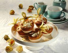 Kokosmuffins mit Physalis -  Exotische Muffins mit Kokosraspeln und Kapstachelbeeren