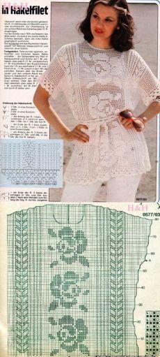 Филейное вязание туника. Филейное вязание туники схемы   Лаборатория домашнего хозяйства