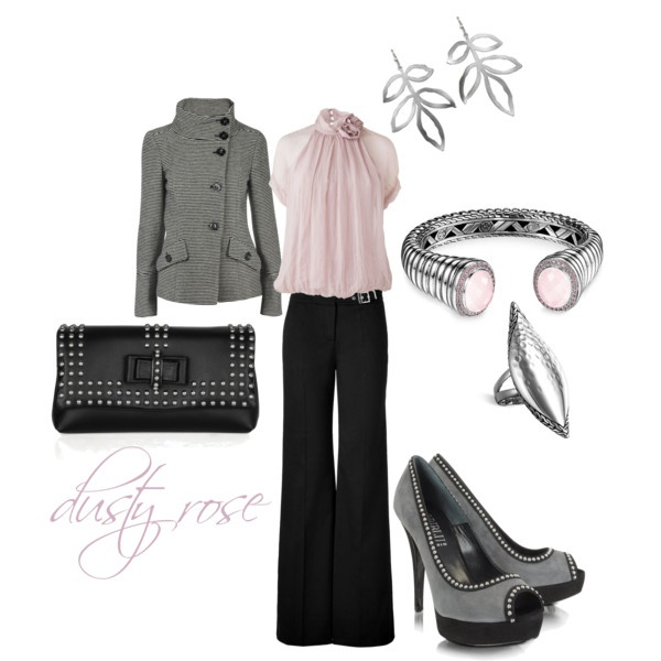 Loving so  muchy!!: Work Clothing, Black Clothing, Pale Pink, Dusty Pink, Pink Outfits, Pink Grey, Work Outfits, Dusty Rose, Pink Black