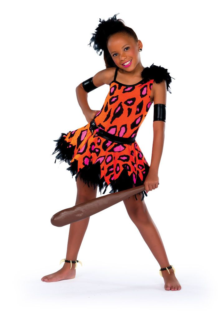 14234 - Pebbles - Travel to the Stone Age with this orange, pink and black print dress with organza crinoline and feather boa trim.