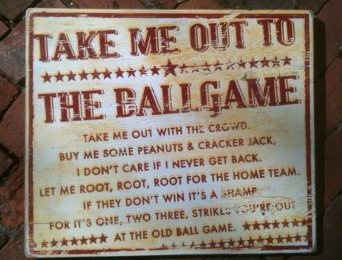 Take Me Out To The Ballgame Lyrics In Canvas For A Baseball Room Theme