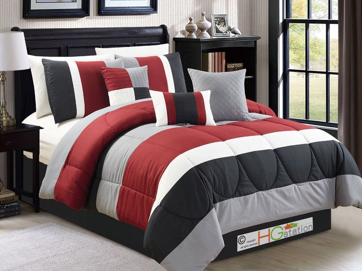 7p Striped Pleated Quilted Comforter Set Red Burgundy