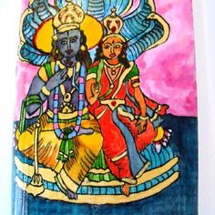 """Aquarelle sur bois, divinités hindoues """"sitâ et râmâ"""