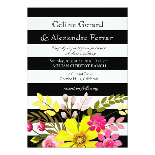 Black and White Striped Flowers Wedding yellow 5x7 Paper Invitation Card