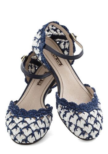 Bring Knit On Flat - Blue, White, Print, Crochet, Flat, Mary Jane, Leather, Woven, Casual, Vintage Inspired