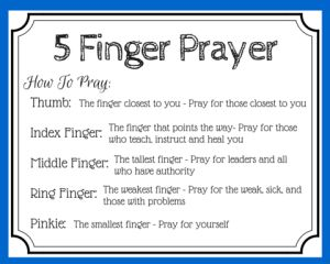 5 Finger Prayer - free printable prayer card