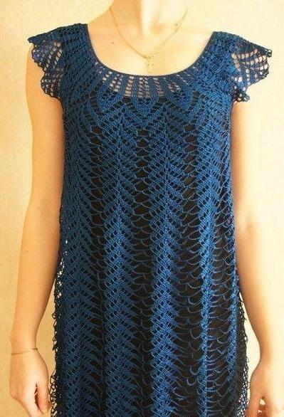 Платье-туника с круглой кокеткой связанное крючком. Схема ажурного платья с кокеткой