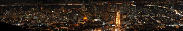 https://flic.kr/p/8PTZB6 | Night panorama from Twin Peaks - 10.31.10 - San Francisco, California (with Giants colors) | San Francisco skyline from Twin Peaks (10/31/2010). Ferry building, City Hall, etc. lit up in orange in honor of SF Giants  Stitched panorama