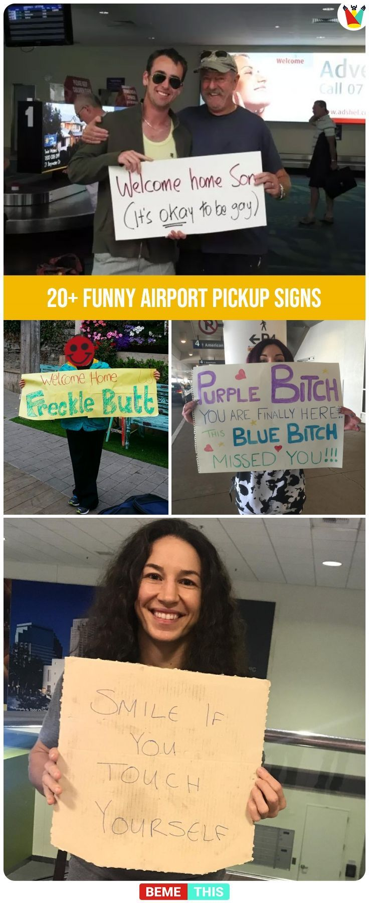 20 Embarrassing Yet Funny Airport Greeting Signs That Are Unforgettable Funnysigns Funnyairportphotos Funny Airport Funny Welcome Home Signs Greeting Sign
