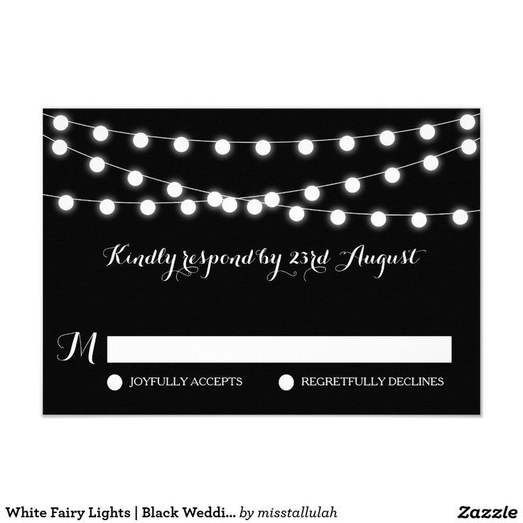 White Fairy Lights Black Wedding RSVP