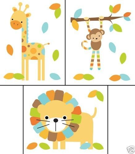 Mod Jungle Wall Decals Baby Boy Nursery Kids Room Monkey Elephant Stickers Decor