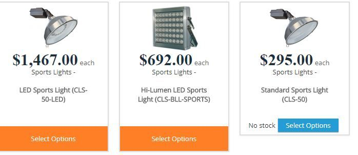 Our Sports Lighting fixtures are available in two types, standard metal halide and the new LED style. These are ideal for sports field lighting , back yard sports courts , parks, signs, parking lot lighting, and other general applications where sports lighting may come into use.
