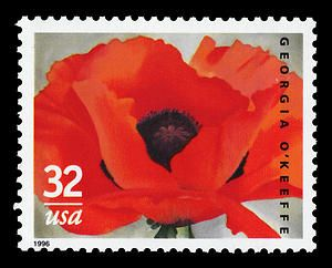 The Postal Service issued a 32-cent commemorative stamp in recognition of Georgia O'Keeffe's artistic achievements, in a pane of fifteem, on May 23, 1996, in Santa Fe, New Mexico.