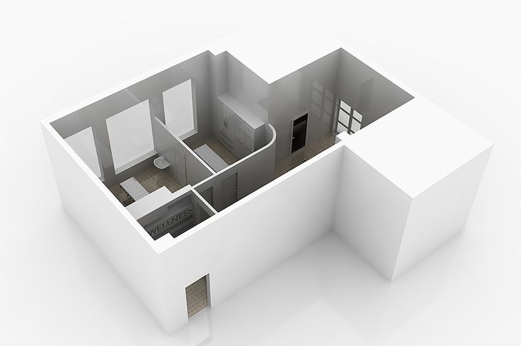 bram | centro benessere - render 3D in vista assonometrica