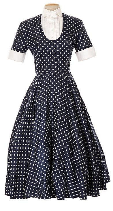"""Lot 21: Lucille Ball signature """"Lucy Ricardo"""" polka dot dress designed by Elois Jenssen for I Love Lucy. - Profiles in History   AuctionZip"""