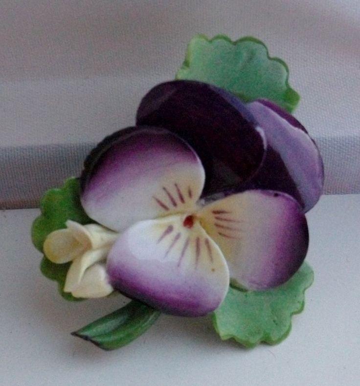 Vintage Cara China Staffordshire England Purple Pansy Pin Brooch (1940u0027s)  #Cara