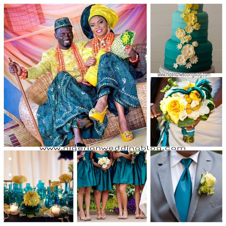 Nigerian wedding: Dark Teal, cream & canary yellow wedding color combination