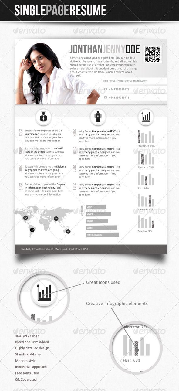 24 best Resume Inspiration images on Pinterest Advertising - single page resume