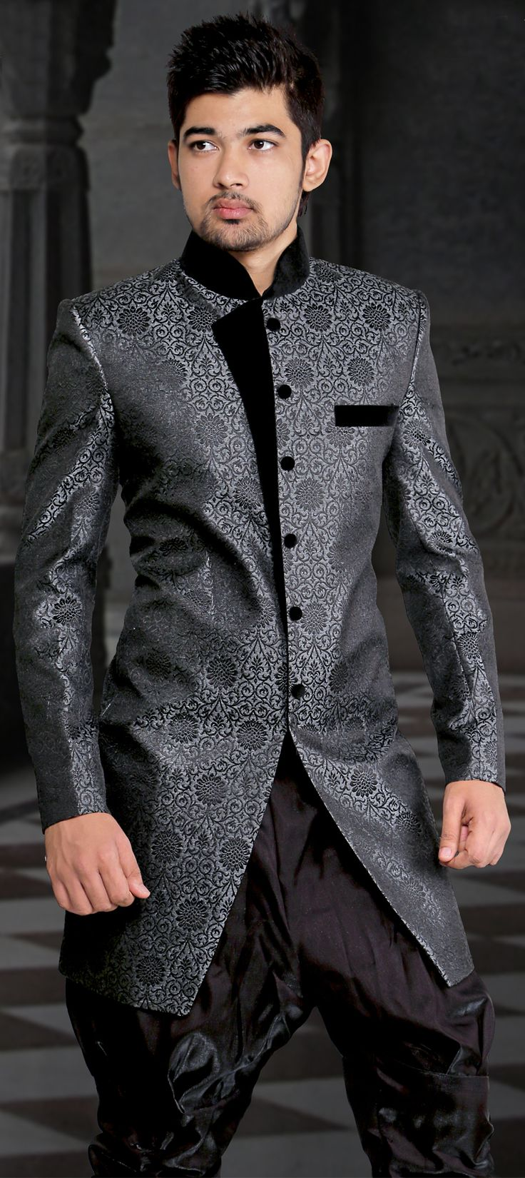 500996 black and grey color family indowestern dress for Indo western wedding dress for men