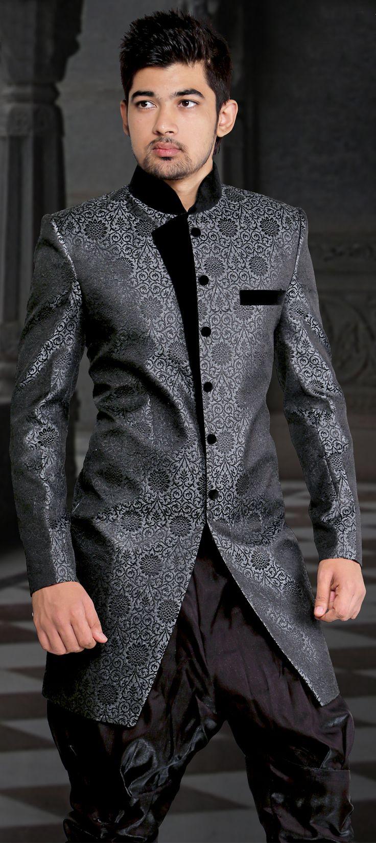 Jacquard IndoWestern Dress in Black and Grey with Patch work  sherwani  Fashion Sherwani Dresses