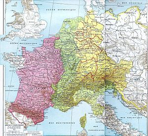 """Most historians prefer to use the term """"Frankish Kingdoms"""" or """"Frankish Realm"""" to refer to the area covering parts of today's Germany and France from the 5th to the 9th century. The size of the empire at its zenith around 800 AD was 1,112,000 km2, with a population of between 10 to 20 million people.[2] @Wikipedia"""