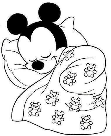 sleeping mickey disney craftsdigi stampscoloring pagescoloring sheetscolouringdisney babiesembroidery - Disney Baby Mickey Coloring Pages