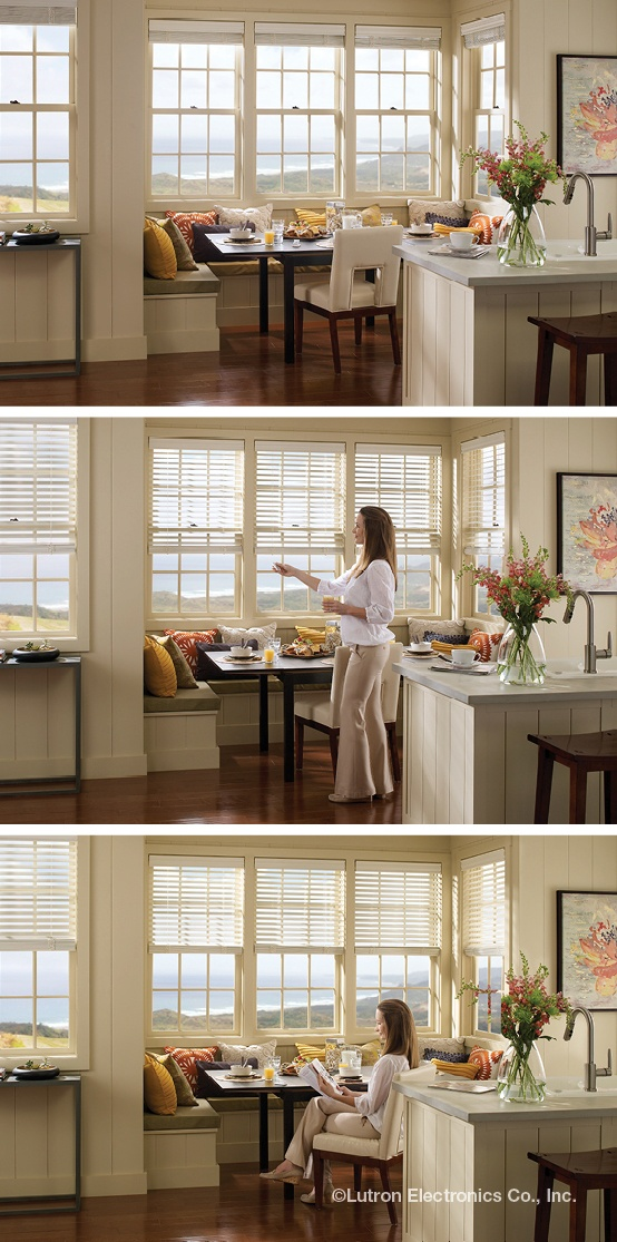 Lutron Venetians are an automated twist  on traditional Venetian blinds. http://www.lutron.com/en-US/Products/Pages/ShadingSystems/SivoiaQSWireless/WindowTreatments/VenetianBlindsTiltAlign/VenetianBlindsTiltAlign.aspx?utm_source=Pinterest_medium=BeforeAfter_VenetianKitchen_campaign=SocialMedia