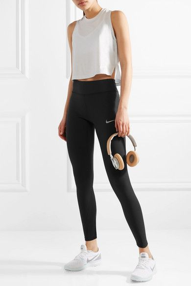 Nike - Power Epic Lux Paneled Dri-fit Stretch Leggings - Black