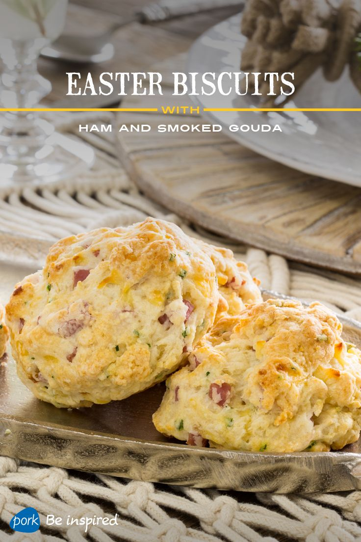 These savory, crumbly biscuits – stuffed with ham and smoked Gouda and served with sweet maple butter on the side – are an easy way to update the classic dinner roll, or to get more ham on your Easter menu. Created by Haylie Duff.