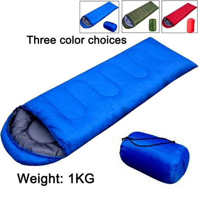 Warm Envelope Sleeping Bag Single Suit Case Camping Hiking Outdoor with Pillow A