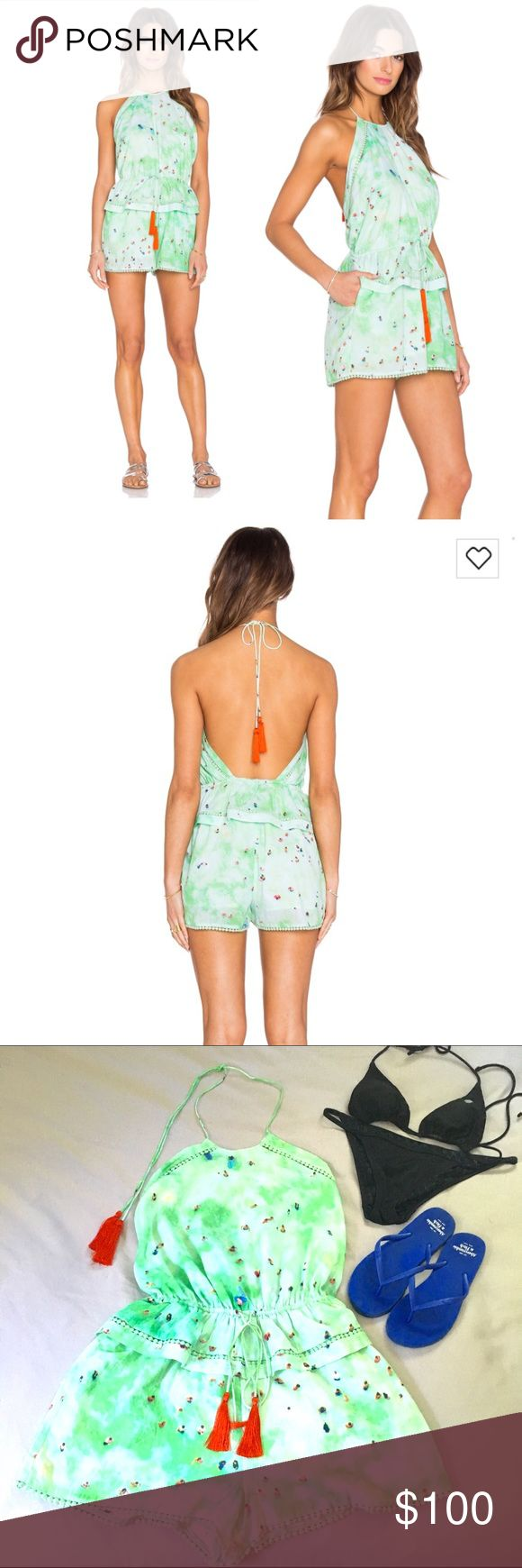 """//PRICE DROP// Basta Surf Gray Malin Mako Romper Basta Surf cover up romper from the Gray Malin collection, Mako In Wave print. Green with red tassels. Size Medium, brand new condition with tags. Described as luxury swimwear and """"beachwear that are wearable pieces of art"""".  100% cotton. Can be worn as a typical romper or over a bathing suit. Size medium, but can accommodate a range with elastic waist. ✨Reduced from $100 Basta Surf Swim Coverups"""