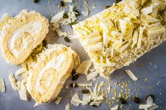 White chocolate and lemon roulade...
