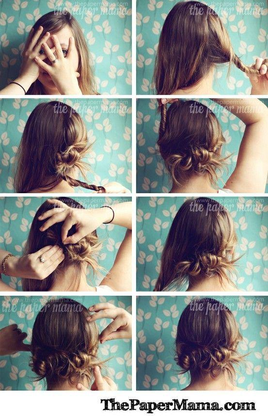 more ideas: Easy Hair, Hair Ideas, Hair Tutorials, Long Hair, Twists Buns, Messy Buns, Hairstyle, Hair Style, Hair Buns