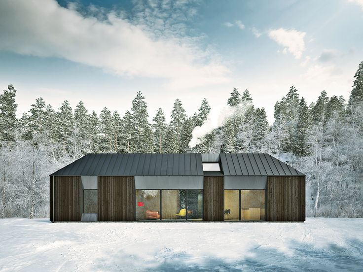 The roofline of the Tind house prototype, designed by Claesson Koivisto Rune for prefab company Fiskarhedenvillan, has more conventional Swedish gables than the flat-roofed modernism of typical prefab units.