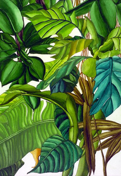 Ruth Daniels Ink and Watercolor • $595 love this #tropical print