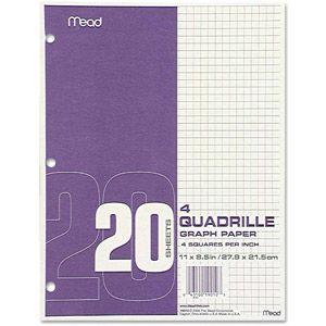 """Mead Quadrille Graph Paper, Quadrille (4"""" sq/in), 8.5"""" x 11"""", White, 12 Pads"""