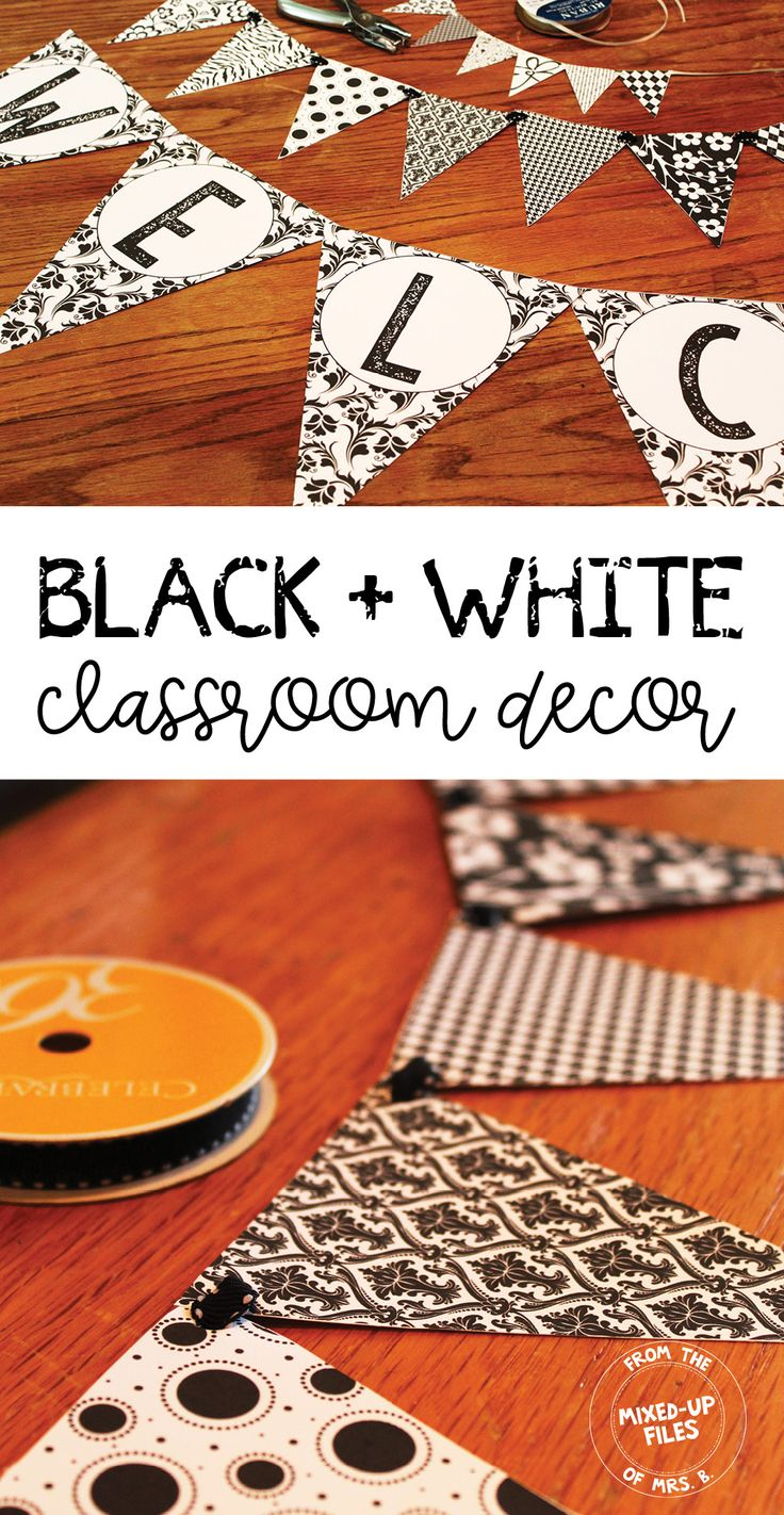 Create sophisticated classroom decor for your middle or high school students with this black and white color scheme. Editable and ready to print decorations designed specifically for secondary teachers will make your room welcoming, yet age-appropriate. It has binder covers, bulletin board letters, calendar, cursive alphabet, pennant bunting,teacher toolbox labels, and editable labels and posters. Mix and match with a bright pop of color, or keep it cool with black and white patterns.